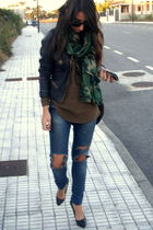 black Zara jacket - green Zara scarf - brown Zara shirt - black Zara shoes - bro