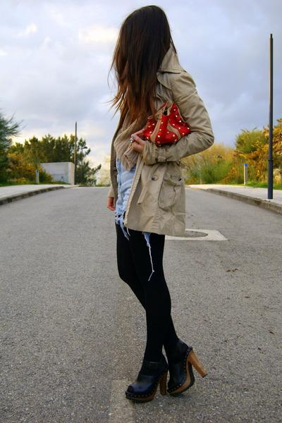 black clogs Zara shoes - dark khaki trench Str coat - brick red studded Zara bag