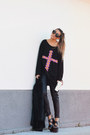 Black-floral-cross-high-heels-suicide-sweater