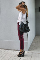 black Office shoes - crimson Zara pants - ivory Zara top