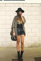 black Nellycom boots - camel vintage coat - black High Heels Suicide top