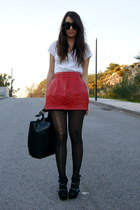 black diy studded Zara shoes - black leather Zara bag - ruby red leather Zara sk
