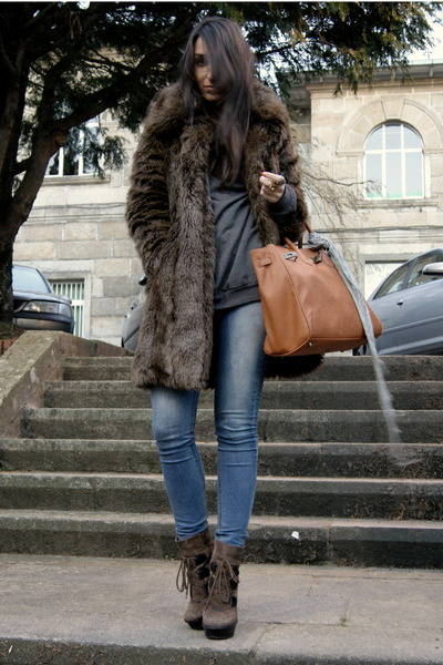 light brown Aldo boots - dark brown faux fur Zara coat - heather gray H&M sweate