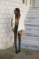 carrot orange UNIF coat - green asos jeans - black freda Jeffrey Campbell shorts