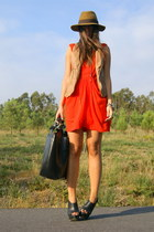 black curve wedges asos shoes - carrot orange Zara dress - black leather Zara ba