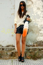 black leather Zara shorts - black wedge asos shoes