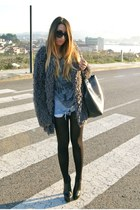 charcoal gray fluffy Svmi-e coat - black Nelly shoes - silver Zara shirt