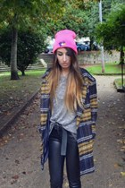 navy Choies coat - hot pink High Heels Suicide hat