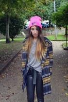 navy Choies coat - hot pink High Heels Suicide hat