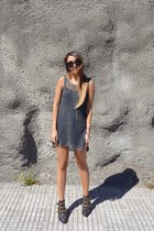 forest green Jeffrey Campbell shoes - charcoal gray Zara dress