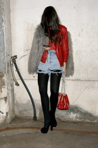 black asos shoes - heather gray faux fur Zara coat - ruby red leather Zara jacke
