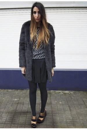 black Zara coat - black Zara skirt