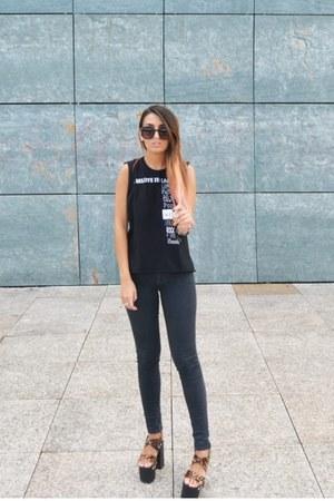 dark brown fever UNIF shoes - black High Heels Suicide top