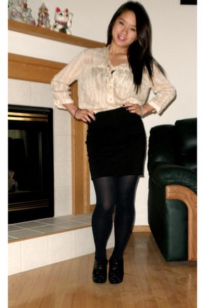dark blue tights - black Madden Girl shoes - beige shirt