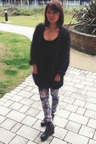 blue asos jeans - black Topshop cardigan - black theLBD top - black Opening Cere