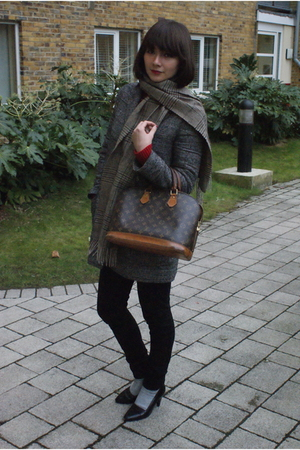 gray whistles coat - black Fred Perry jeans - brown Louis Vuitton accessories -