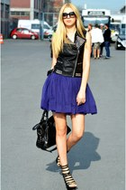 black leather balenciaga bag - deep purple H&M dress - black Prada sunglasses