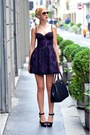 Purple-lace-guess-dress-black-leather-prada-bag