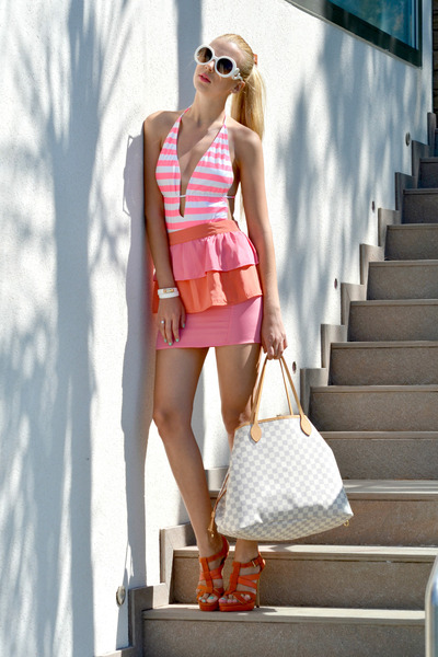 bubble gum H&M skirt - white leather Louis Vuitton bag - white Prada sunglasses