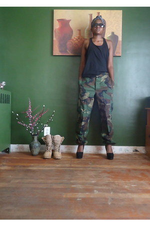 black Walmart top - army green dads MARINE pants