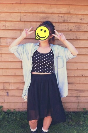 polka dot crop Forever21 top - oversized denim thrifted jacket