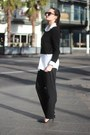 Black-cropped-unknown-sweater-charcoal-gray-wool-babaton-pants