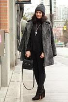 heather gray wool vintage coat - black suede Rachel Comey boots
