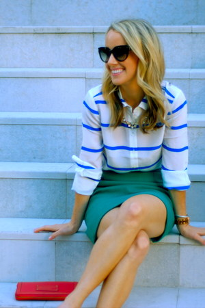 silver Joes Jeans pumps - blue striped silk J Crew shirt