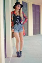 hot pink Pimkie jacket - sky blue Levis shorts - black H&M top