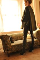 green vintage coat - black Zara pants - black Dorothy Perkins boots