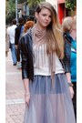 Silver-sheer-chiffon-once-removed-vintage-skirt-tan-river-island-boots