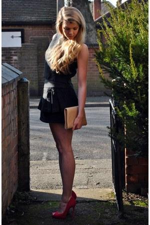 black peplum Forever21 skirt - hot pink Kurt Geiger shoes