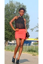 coral H&M skirt - black asos shoes - black River Island bag - black Primark top