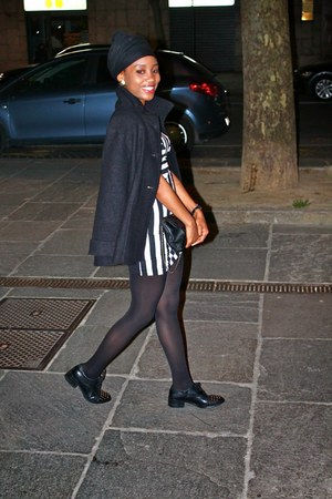 black asos shoes - white H&M dress - black Oviesse jacket