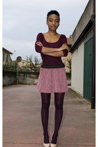 purple Primark tights - light pink new look heels - bubble gum new look skirt
