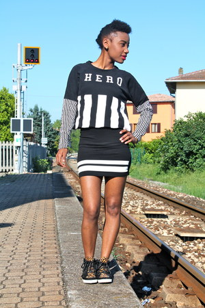 black H&M dress - black Zara hoodie - black River Island sneakers