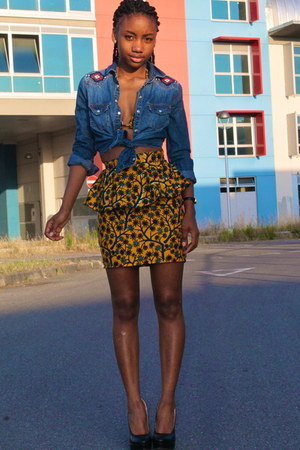 navy new look shirt - black new look heels - yellow Ara Couture skirt
