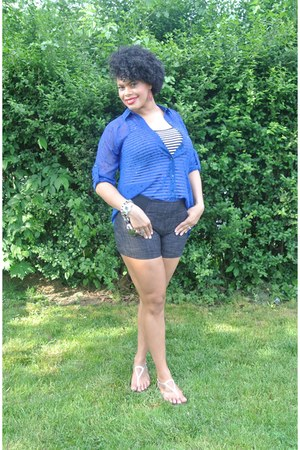 black striped tank Forever21 top - blue Express shirt - navy Forever21 shorts