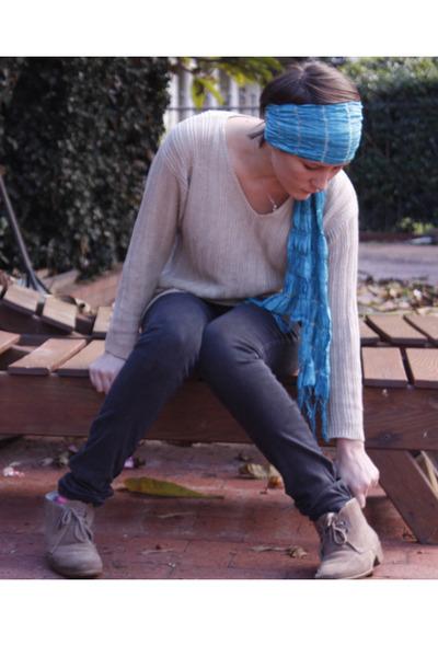 black jeans - beige blouse - brown shoes - blue scarf