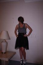 black skirt - gray MinkPink shirt - black belt - white bonds socks - black Steve