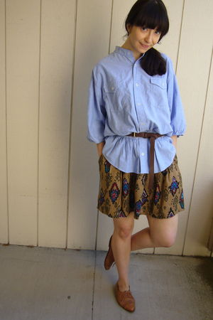 blue Forever 21 blouse - brown Zara belt - vintage skirt - brown vintage shoes