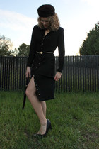 black St John dress - dark brown vintage hat