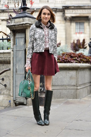 tory burch jacket - Pollini boots - Alice  Olivia bag - tory burch blouse