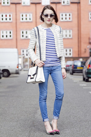 tory burch jacket - Hudson jeans - JCrew t-shirt - kate spade accessories