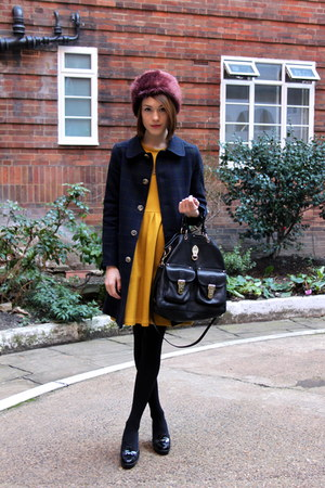Topshop hat - whistles dress - APC coat - Mulberry bag - Tods loafers
