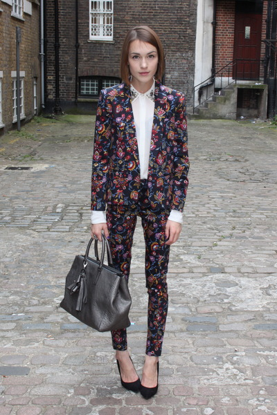 Anya Hindmarch bag - Topshop blazer - Zara blouse - Topshop pants