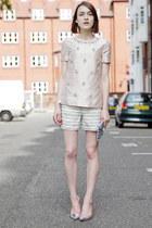 tory burch shorts - Wilbur & Gussie bag - Sophia Webster heels - tory burch top
