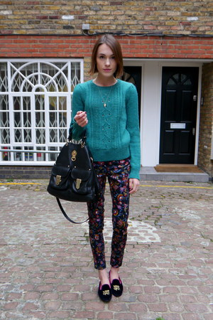 whistles jumper - Mulberry bag - Topshop pants - Anne Bowes Jewellery necklace