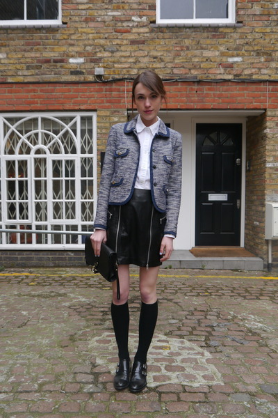 McQ skirt - whistles jacket - Gap shirt - Radley London bag - H&M socks