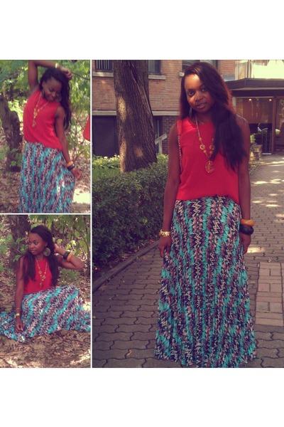 maxi skirt Chinese Laundry skirt - H&M bracelet - carrot orange Zara blouse
